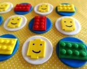 "Fondant ""Lego"" inspired toppers,fondant building blocks,fondant cupcake toppers,fondant cake topper,boy themed birthday party"