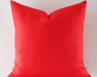Red Linen Pillow, Cushion Linen Cover,  Decorative Throw Pillow, 16,18,20,22,24,26,28,30 inches
