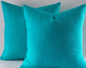 Set of 2 / Turquoise Linen pillow covers,Linen Pillows,Decorative pillow cover,Throw pillow,Pillow cover