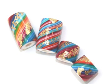 Unique beads for jewelry making, Large hole beads, Polymer Clay round beads, tube beads, set of 4 colorful stripes beads