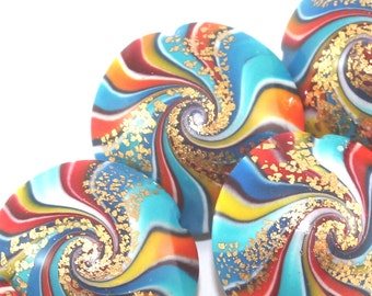 Polymer Clay beads in rainbow colors,  colorful swirl lentil beads with touches of gold, set of 6 unique beads