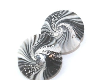 Jewelry supplies, Elegant beads, focal beads in stripes pattern, swirl lentil beads in black, gray and silver, set of 2