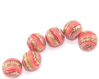 Ombre beads for Jewelry making, elegant round stripes beads, Polymer Clay beads in red, orange and gold, Set of 6 unique beads