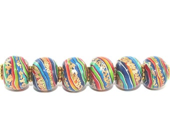Rondelle beads for Jewelry Making, beads in rainbow colors with gold touch, round pressed stripes beads, 6 colorful Polymer Clay beads