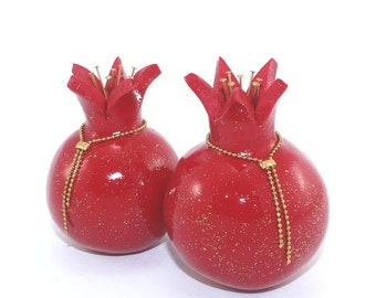 Prosperity symbol, rosh hashanah gift, table decoration, red pomegranates home decor, 2 Polymer clay Pomegranates in red and shiny gold