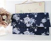 Bridesmaids large envelope clutch navy blue rose wedding bridal clutch evening purse