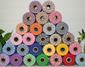 30 yards Bakers twine 4ply cotton sampler pack 1 color or 15 yards of 2 colors or 10 yards of 3 colors choose from over 30 colors