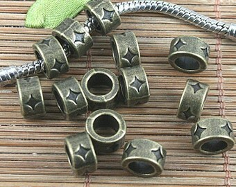 30pcs  tone star-stamped spacer beads