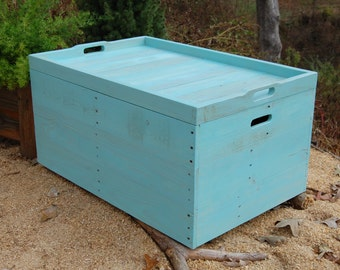 Coffee Table/ Wooden Crate/ Serving Tray/ Turquoise/ Reclaimed Wood