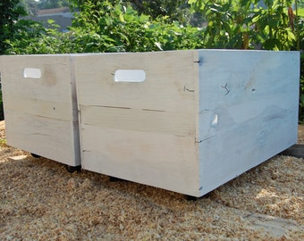 Wooden Crate/ Large Rolling Crate/ White Washed/ Pallet Wood