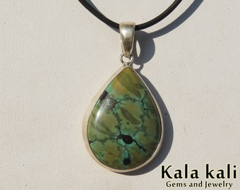Brown green Tibetan Turquoise Drop shape cabochon Sterling Silver pendant