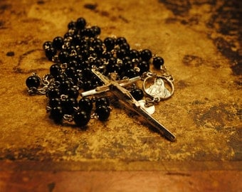 1960s ROUND BLACK Glass vintage Rosary with cross rosary ITALY smooth black glass beads 26 inches with 6.5  inch extension number 59