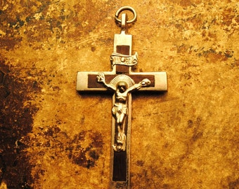 ANTIQUE CROSS statement Crucifix Cross 2.25 inches x 1.2 inches SILVER Ebony Antique Italian protection charm religious medal number 78
