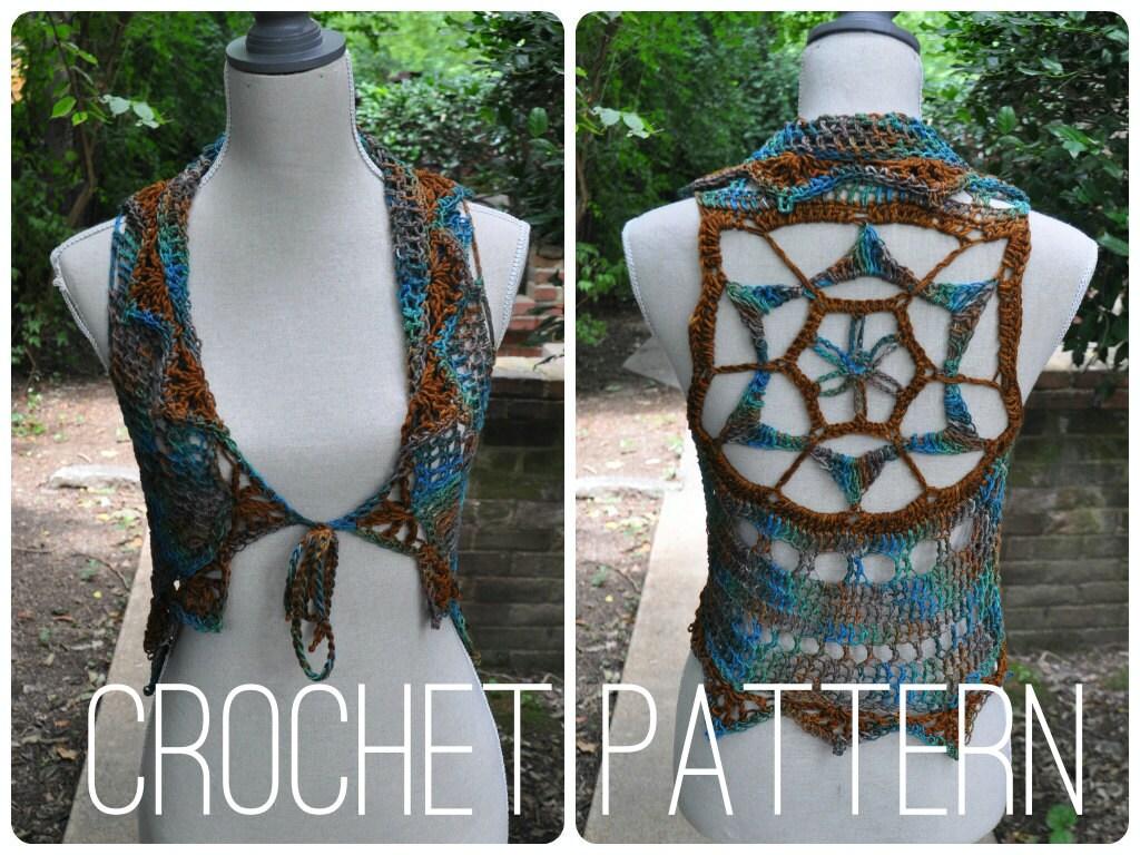 Free Crochet Pattern For Mandala Vest : Crochet Pattern Starflower Mandala Vest