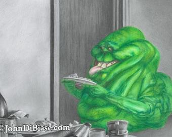 Drawing Print of Slimer in Ghostbusters