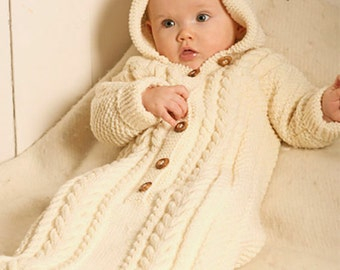 vintage knitting pattern for baby  stunning   sleeping bag/ bunting with hood aran style