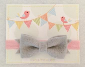 Ready To Ship - Gray/Pink Bow Headband