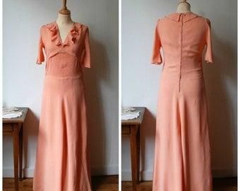 Armide, Vintage 1970's Peach Bridesmaid Gown, Formal Dress, Size M