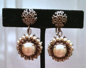 vintage faux pearl and scroll metalwork earrings // screw backs