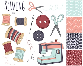 60 OFF SALE Sewing Digital Clipart Machine Clip Art Craft Papers Needle