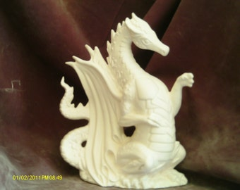 "Fire Dragon ready to paint 9 1/2"" ceramic bisque"