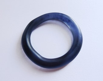 Inky Black Organic Round Resin Bangle