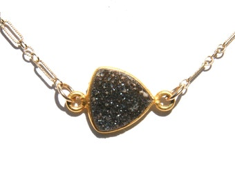 Black Druzy and Gold Adjustable Necklace