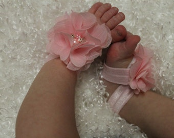 Light Pink Chiffon Flower Baby Girl Barefoot Sandals - Soft Elastic Shoes Sandles Newborn Infant Toddler Christening 1st Birthday Photo Prop