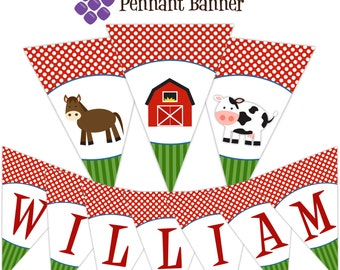 Farm Pennant Banner - Red Dots, Green Stripes Farm Animal, Tractor and Barn Personalized Birthday Party Banner - A Digital Printable File