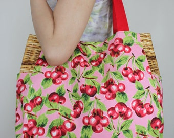 Japanese Kawaii Cherry x Woven Basket Pink Tote Bag, Shoulder Bag, Hand Bag, Canvas Bag