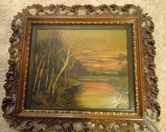 Antique Oil Painting in Carved Frame