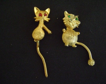 Two Little Adorable Cat Brooch's