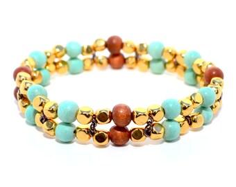 Gold and Wood Beaded Bracelet, Stretch Bracelet, Women's Bracelet, Gold Jewelry, Turquoise Bracelet
