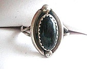 Vintage Sterling Silver & Onyx Antique Deco Ring Size 6