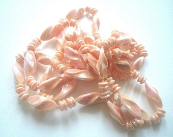 Extra Long Necklace Peach Swirled Molded Lucite Resin Beads Aurora Borealis Finish 47 Inches Single Strand