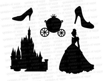 Cinderella Silhouettes // Cinderella Disney Castle Silhouette // Cinderella's Shoe Clip Art Clipart // Disney Princess Silhouettes