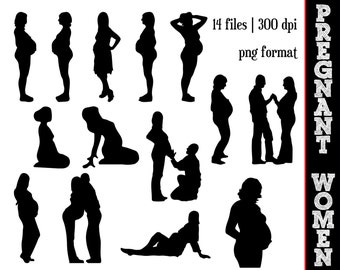 Pregnant Women Silhouettes // Pregnancy Silhouette // Pregnant Woman Clipart // Expecting Couple Silhouettes