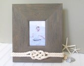 4x6 - Wood Beach Picture Frame - Nautical Rope Knot