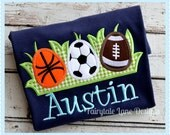 Boys Navy Sport Easter Egg Shirt Appliqued and Monogrammed = Basketball, Soccer, and Football