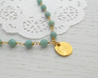 Amazonite gold necklace, Gold coin pendant necklace, Amazonite jewelry