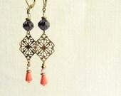Beaded Brass Earrings, Purple and Coral Glass Beadwork, Antiqued Brass Filigree, Leverback Dangle Earring