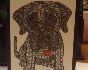 Zentangle Inspired Mastiff Note Card, Mastiff Print,  Love Card