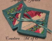 COASTERS TURQUOISE GARDEN Set of Six Home Cottage Shabby Chic Décor Gifts