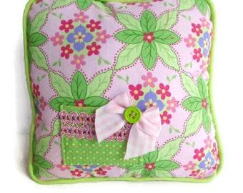 Tooth Fairy Pillow, Lime Green and Pink Pillow, Girls Tooth Fairy Pillow, Pink and Green Tooth Fairy Pillow