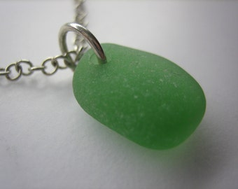 GENUINE SEA GLASS Necklace Sterling Silver Flawless Green Real Surf Tumbled Greek Beach Found Natural Seaglass Pendant Jewelry   N 472f