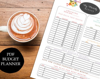 instant download printable budget planner organizer monthly