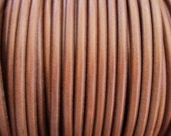 1 yard / meter 5mm round hazzlenut  brown  first quality leather cord strand  supply wholesale findings