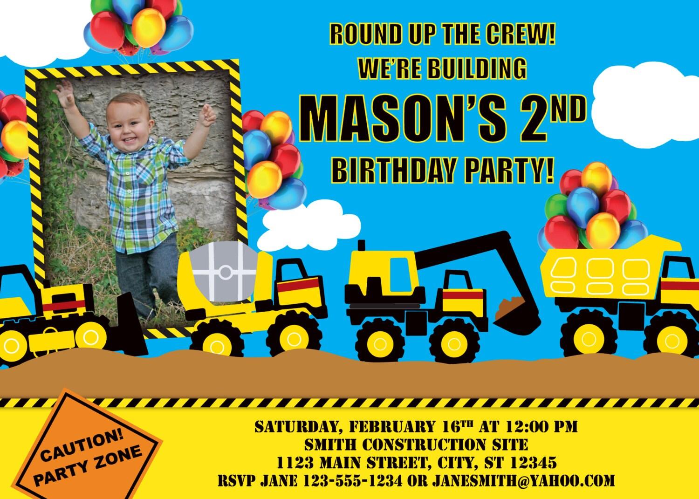 Construction Truck Birthday Invitation – Truck Birthday Party Invitations