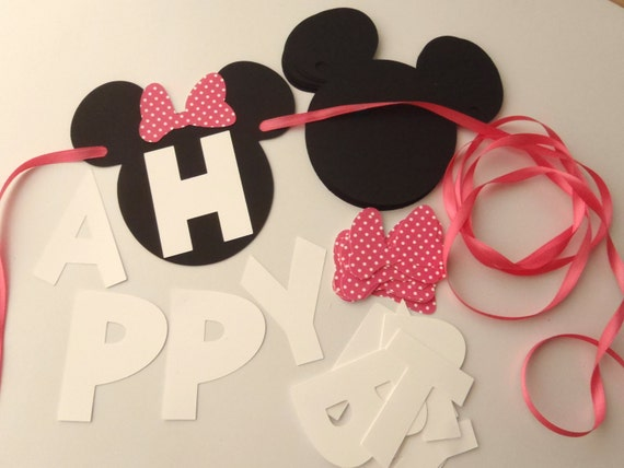Eccezionale DIY Minnie Mouse Banner with Pink or Red Bow and Custom Name CE82