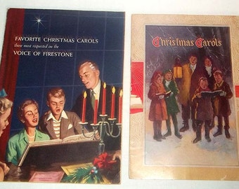 2 Vintage Christmas Song Books from 1941 and 1955 Advertising Firestone Tire Co. and Harry Lange Insurance